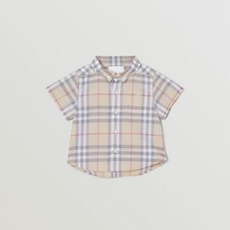 Burberry Childrens Button-down Collar Short-sleeve Check Cotton Shirt