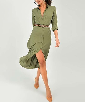 New Laviva Women's Casual Dresses Khaki - Khaki Belted Collared Midi Dress - Women