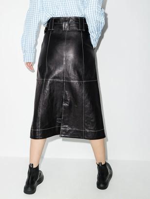 Ganni A-line lambskin midi skirt