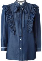 Marc Jacobs ruffled denim shirt - women - Silk/Cotton/Lurex - 8