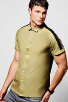 boohoo Contrast Sleeve Stripe Short Sleeve Shirt