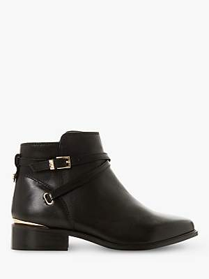 Dune Wide Fit Peper Leather Low Block Heel Ankle Boots, Black