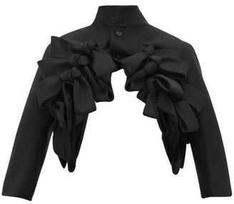 Noir Kei Ninomiya Bow Trim Cropped Wool Twill Jacket - Womens - Black