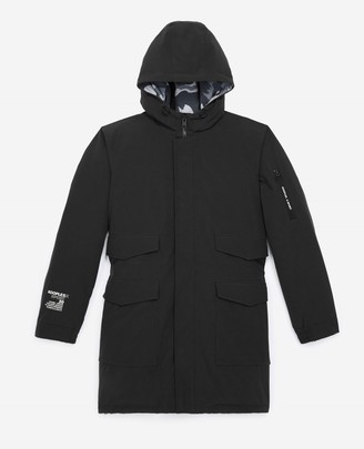The Kooples Black long parka in cotton with lined hood