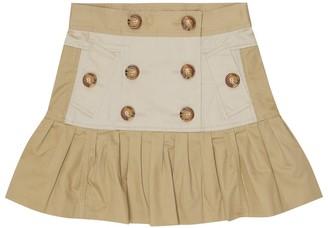 BURBERRY KIDS Cotton twill miniskirt