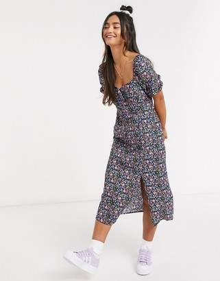 Brave Soul short sleeve midi dress in floral print