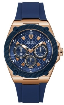 GUESS Men's Blue Silicone Strap Watch 45mm