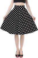 BI.TENCON 1950s Black White Polka Dot High Waist Circle Swing Vintage Skirt L