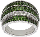Judith Ripka Sterling Chrome Diopside & Diamonique Pave Ring