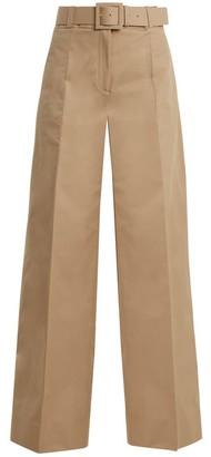 Oscar de la Renta High Rise Wide Leg Cotton Blend Trousers - Womens - Tan