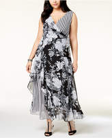 INC International Concepts I.n.c. Plus Size Mixed-Print Maxi Dress, Created for Macy's