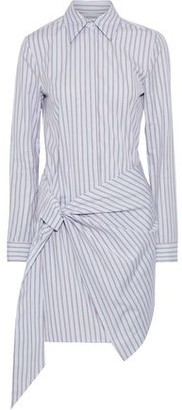 Victoria Victoria Beckham Wrap-effect Striped Cotton-poplin Mini Shirt Dress