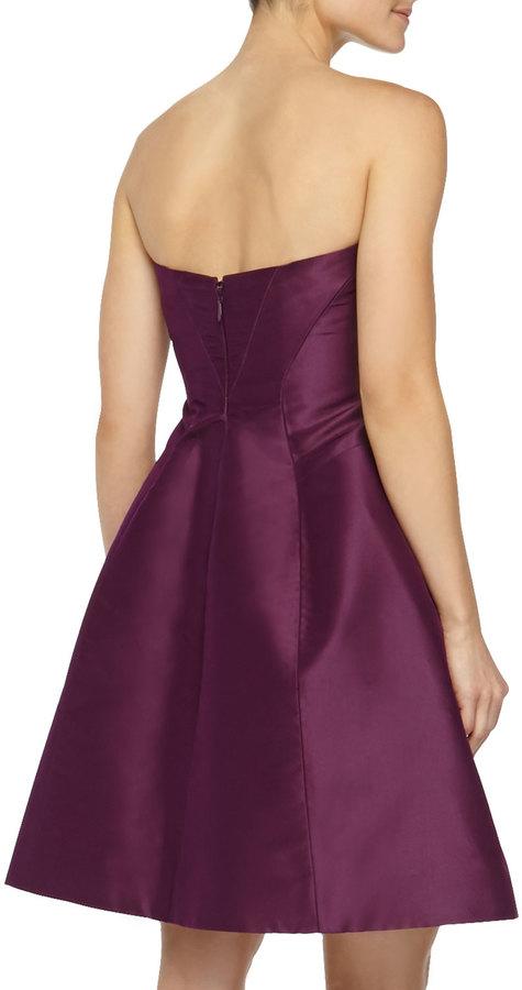 Monique Lhuillier Strapless A-line Party Dress, Plum