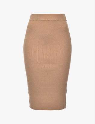Pinko Lesotho high-waist ribbed wool-blend midi skirt
