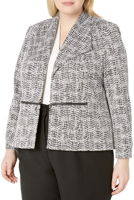 Kasper Women's Knit Metallic Jacquard Jacket with Zipper Pocket Detail