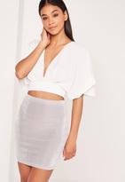 Missguided Textured Slinky Mini Skirt Grey