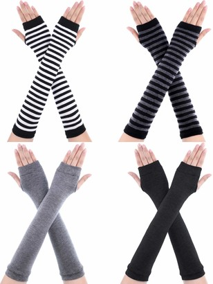 Bememo 4 Pairs Punk Gothic Long Fingerless Gloves Knitted Arm Warmer Elbow Length Gloves Thumb Hole Gloves (Dark Grey Light Grey Striped Color)