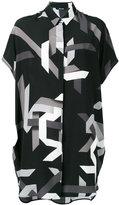 Neil Barrett geometric print shirt dress - women - Silk - XS