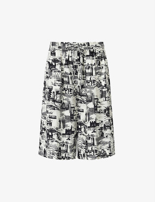 Joseph David graphic-print high-rise cropped woven trousers