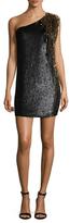 Jenny Packham Sequin Shoulder Appliqu&eacute Sheath Dress