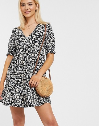 Miss Selfridge smock dress with v-neck in black ditsy