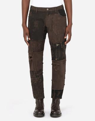 Dolce & Gabbana Brown Patchwork Jeans