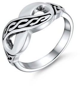 Bling Jewelry BFF Irish Love Knot Celtic Infinity Band Ring 925 Sterling Silver