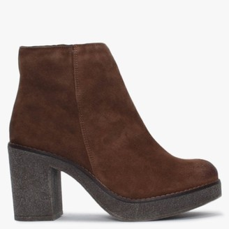 Alba Moda Brown Suede Ankle Boots