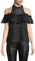 Rebecca Taylor Women's Cold Shoulder Clip Dot Top