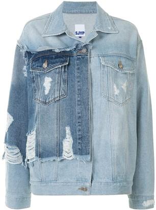 Sjyp Distressed Panelled Denim Jacket