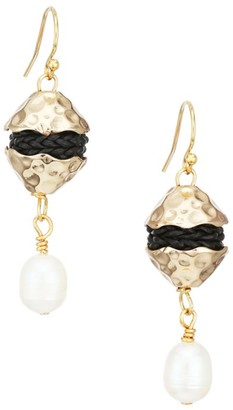 Akola 18MM Baroque Pearl & Leather Small Drop Earrings