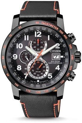 Citizen Men's Eco-Drive Global Radio Controlled Chronograph Black Leather Watch, 43.1mm