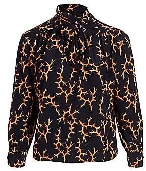 Baacal, Plus Size Women's Marion Thorn Print Tie Neck Blouse