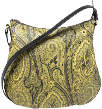 Etro Green/Yellow Paisley Print Coated Canvas and Leather Crossbody Bag