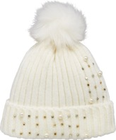 Very Pearl and Embellished Detail Beanie - Cream