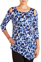 Peter Nygard Cold-Shoulder 3/4 Sleeve Crew Neck Tunic
