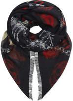 Alexander Mcqueen Ramson Punk Print Wool & Silk Scarf