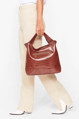 Nasty Gal Womens WANT Love on Croc Faux Leather Tote Bag - Brown