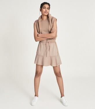 Reiss Kara - Fabric Mix Mini Skirt in Camel