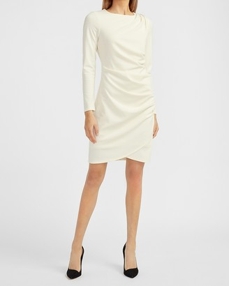 Express Embellished Button Shoulder Ruched Sheath Dress