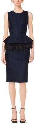 Michael Kors Feather-Embroidered Peplum Damask Jacquard Dress