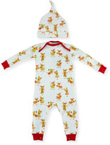 BedHead Jersey Reindeer Coverall w/ Hat, White, Size 3-24 Months
