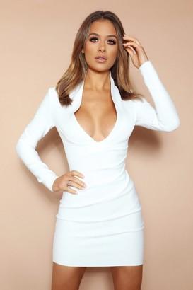 LEMONLUNAR The Aubrielle White Bandage Mini Dress