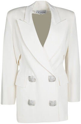 Gianfranco Ferre Cream Cutout Back Detail Blazer and Maxi Skirt Suit S