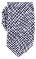 Black Navy and White Check Silk and Wool Tie