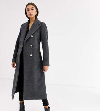 Glamorous Tall double breasted coat with tie waist-Grey