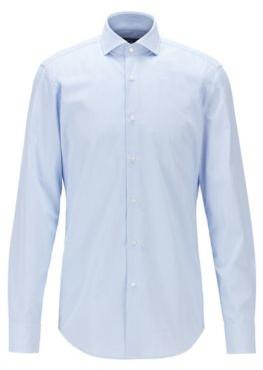 HUGO BOSS Slim Fit Shirt In Micro Checked Dobby Cotton - Light Blue