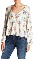 Lush Floral V-Neck Long Sleeve Blouse