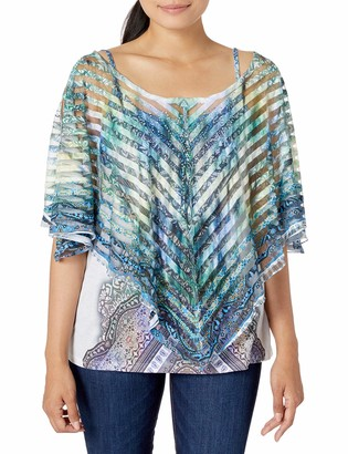 One World ONEWORLD Women's Shadow Stripe Overlay with Cold Shoulders and Bling