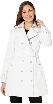 Save The Duck Grin Double Breasted Rain Coat (White) Women's Clothing